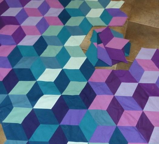 Jewel Tone Diamonds quilt in progress