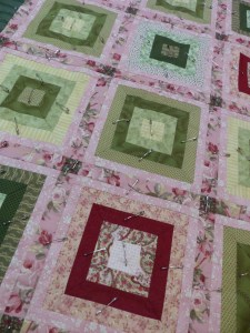 pink and green charity quilt