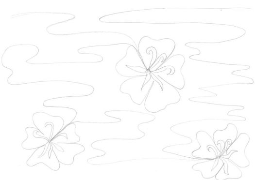 Water and Hibiscus FMQ design