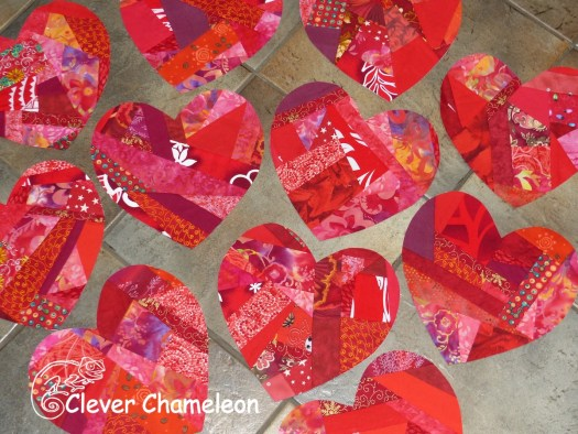 Scrappy red hearts