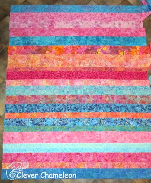 Quilt back made of batik strips