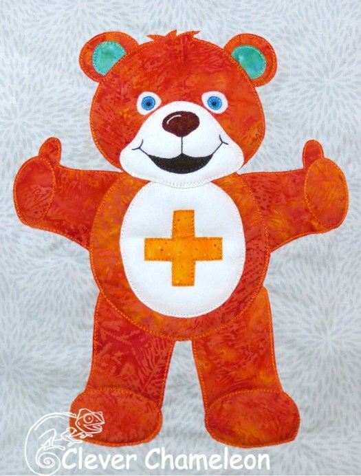 Beary Colourful Orange Bear appliqué by Clever Chameleon