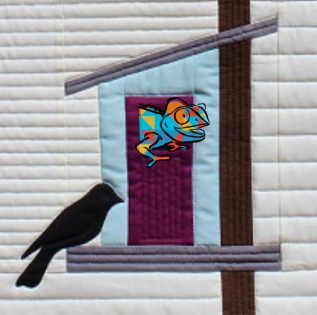 Clever Chameleon in a birdhouse