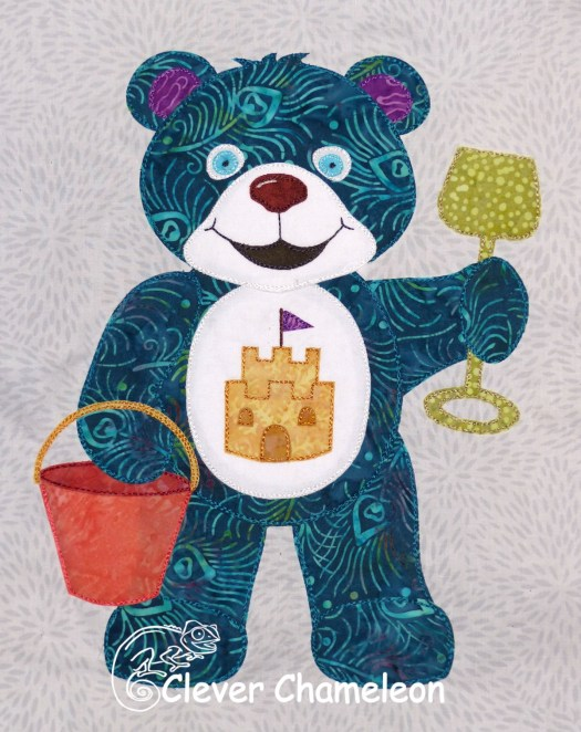 Teal Bear of Taking Time Out appliqué by Dione of Clever Chameleon