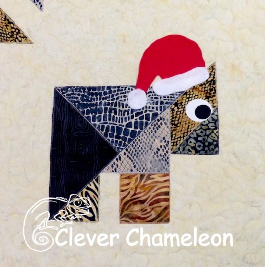 Christmas Wombat appliqué by Dione of Clever Chameleon Quilting