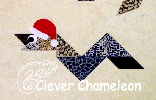 Christmas Snake appliqué by Dione of Clever Chameleon Quilting