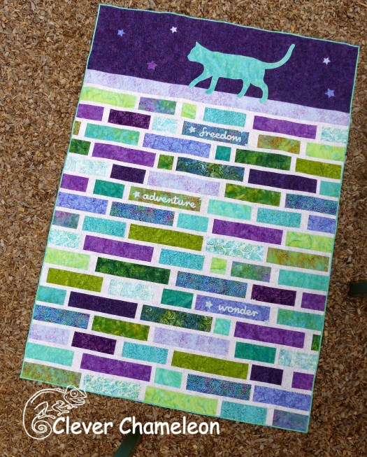 Cat on a Wall quilt by Dione Gardner-Stephen of Clever Chameleon