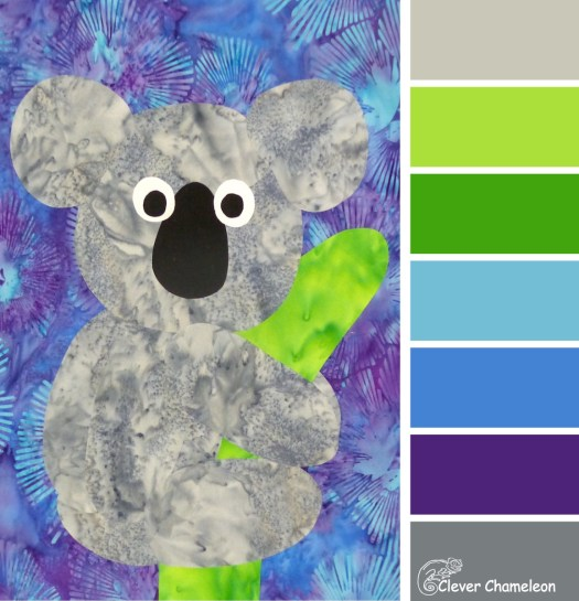 Koala Kapers, an appliqué colour board from the Clever Chameleon