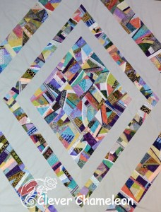 Crazed Diamonds quilt flimsy by Clever Chameleon