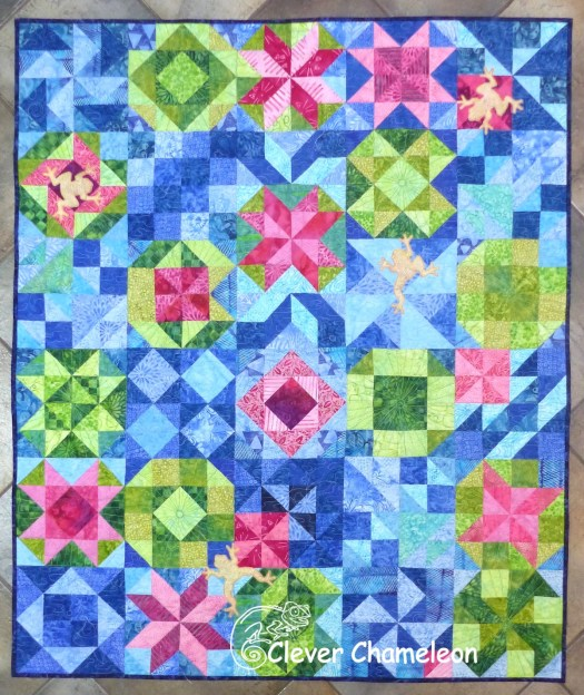 Pond Life quilt by Dione Gardner-Stephen of Clever Chameleon