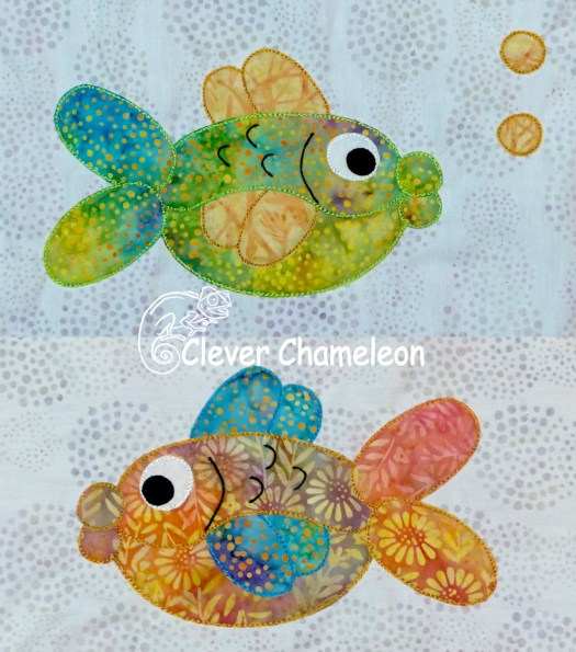 Fabulous Fish appliqués for the Love with a Twist quilt along at Clever Chameleon