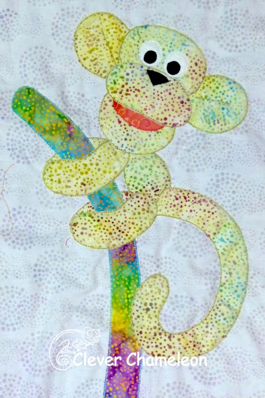 Magic Monkey balloon appliqué from the Love with a Twist series by Dione Gardner-Stephen of Clever Chameleon