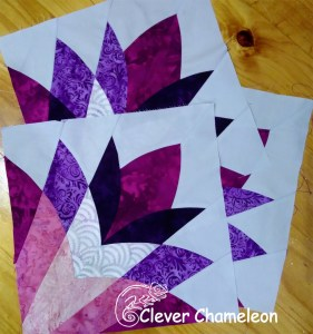Pieced Cleopatra's Fans blocks at Clever Chameleon for turkey feathers