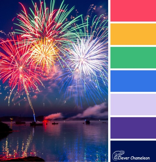 Fireworks colour board at Clever Chameleon