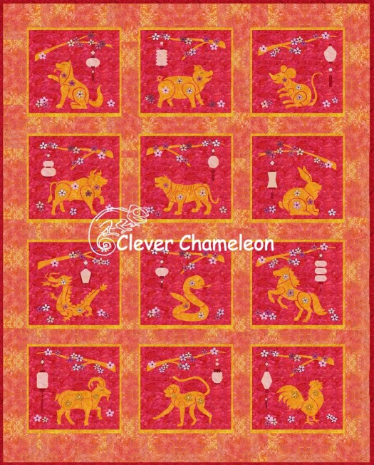 Lunar New Year quilt at Clever Chameleon