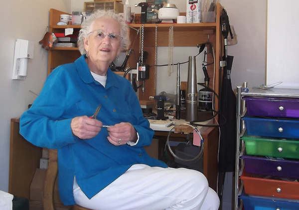 Jeweler Ruth Treitman in her studio in Wellesley, MA