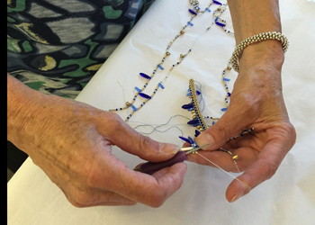 Jackie Mosher demonstrates bead crocheting