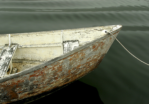 Photograph of wooden boat by Nancy Rich