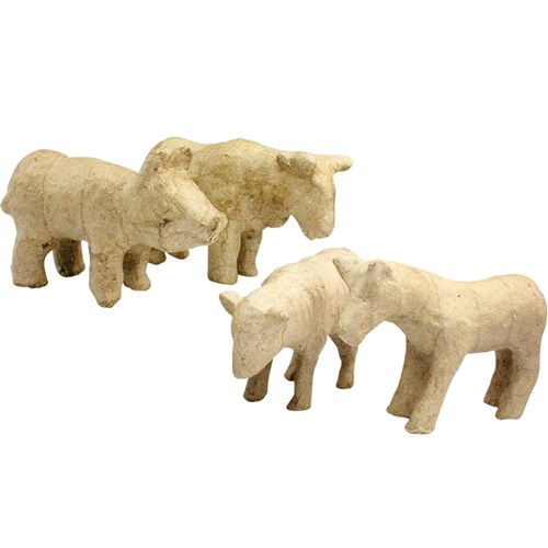3D Papier Mache Farm Animals Pack Of 4 Papier Mache