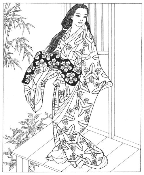 Creative Haven Japanese Kimono Designs Coloring Book Books