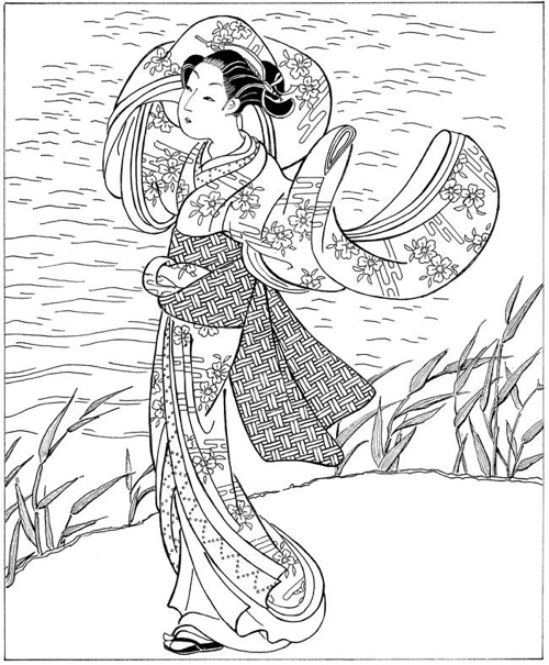 Women In Japanese Art Ukiyo E Woodblock Prints Dover Fashion Coloring Book