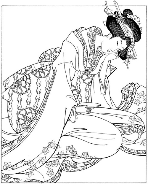 women in japanese art ukiyo e woodblock prints dover fashion coloring book - Fashion Coloring Books