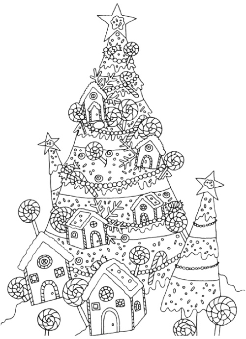 Coloring Book Pictures Of Christmas Trees Worksheet Pages