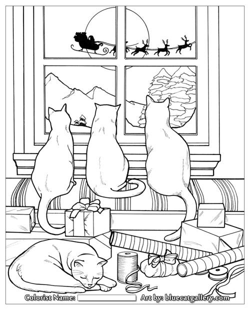 Santa's Cats: Adult Coloring Book