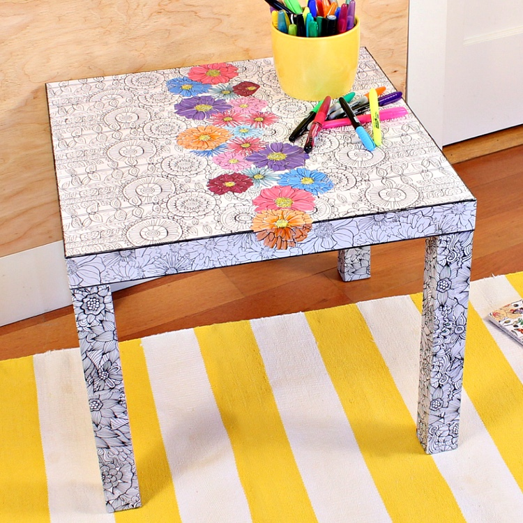 Crafty Ways to Use Your Coloring Pages: DIY Decoupaged Coloring Table!
