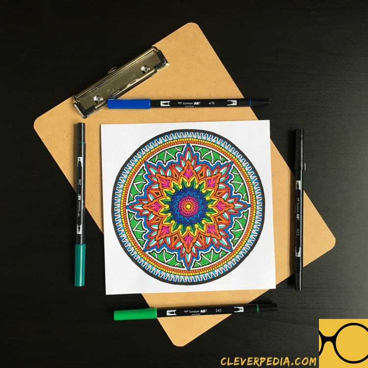 Page from the coloring book Color With Music: Mandalas colored by Adrienne from Cleverpedia!