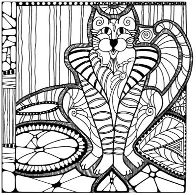 Cat A Doodles Adult Coloring Book