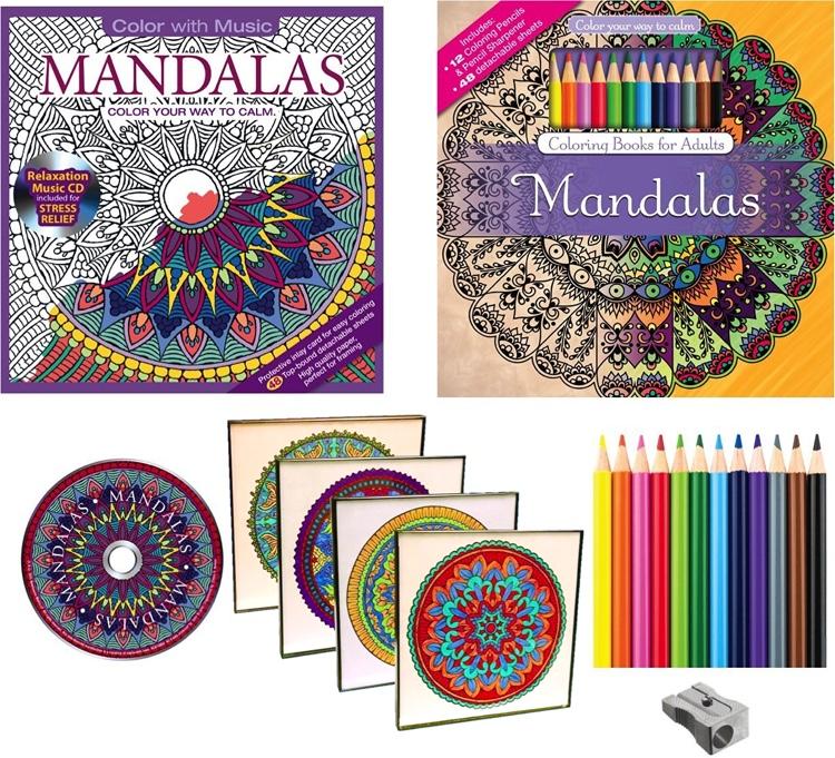 Adult Coloring Books & Picture Frames Set: Mandalas