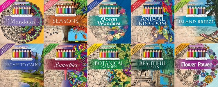 Full Lineup Of Color Your Way To Calm Coloring Books That Include A Set