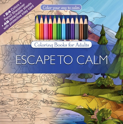 Color Your Way to Calm: Escape to Calm (Colored Pencils + Sharpener Included)