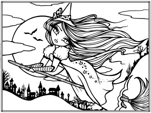 Enchanted Halloween: A Whimsy Girls Fantasy Coloring Book