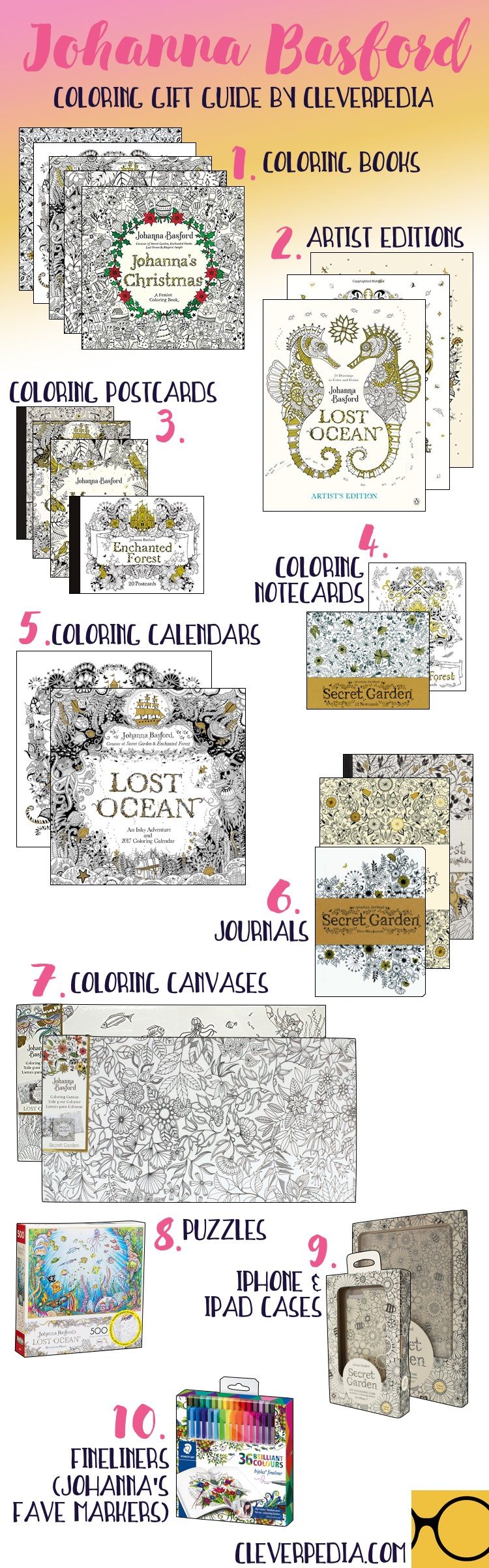 Johanna Basfords Many Coloring Books And Other Products Make Great Gifts For New Experienced