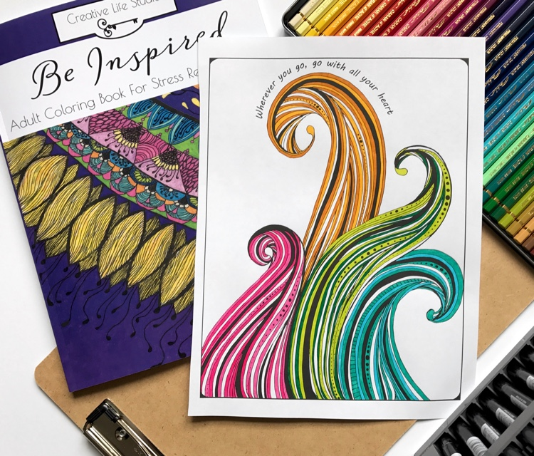 Colored page from Be Inspired: Adult Coloring Book for Stress Relief vol. 1. Colored using Tombow dual-ended brush pens by Adrienne from Cleverpedia!