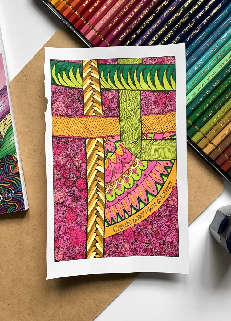 Colored page from Be Inspired: Mini Adult Coloring Book for Stress Relief vol. 2. Colored using Tombow dual-ended brush pens by Adrienne from Cleverpedia!