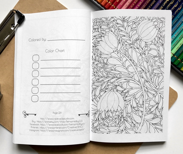 Page from Be Inspired: Mini Adult Coloring Book for Stress Relief vol. 2