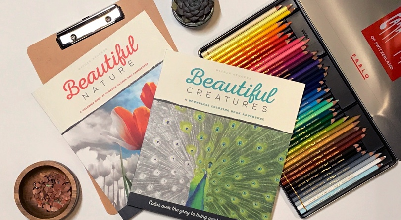 Beautiful Creatures & Beautiful Nature, Two Gorgeous Grayscale Coloring Books