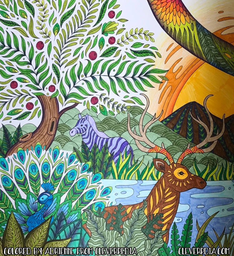 Finished coloring page from Soul Coats, colored by Adrienne from Cleverpedia. Detail of a page spread of the Garden of Eden.