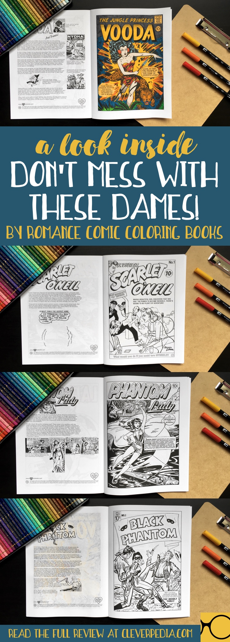 This coloring book celebrates the powerful lady crime fighters from a bygone era of comics. Enter to win your own copy, plus a one-of-a-kind coloring t-shirt!