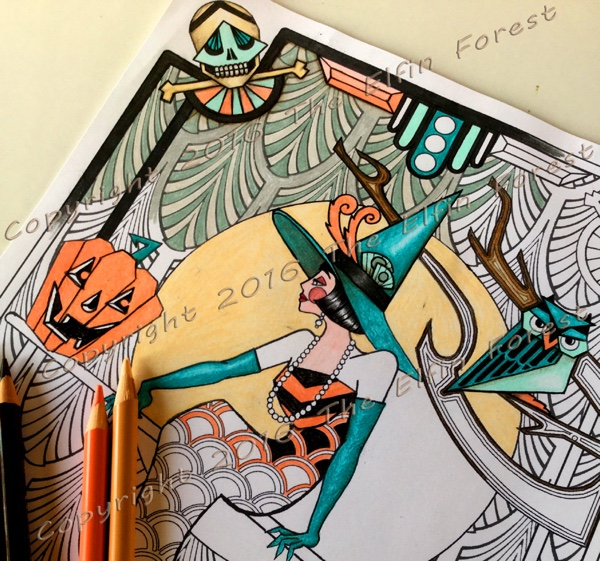 Art Deco Witch Adult Coloring Page