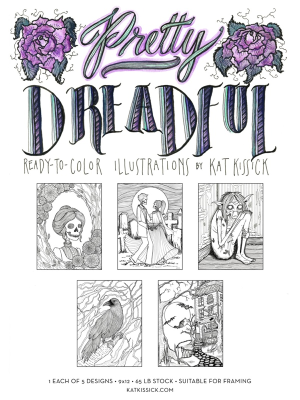 Pretty Dreadful Halloween Coloring Page Set