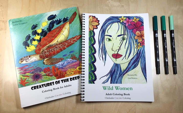 Adult coloring books 'Wild Women' and 'Creatures of the Deep' by Chickadee Creative Coloring. These high quality coloring books are spiral-bound, feature perforated pages, and are printed on just one side of the heavy pages.