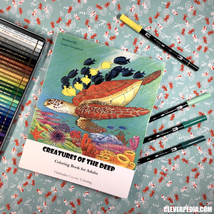 Creatures of the Deep, an adult coloring book by Chickadee Creative Coloring! This coloring book features 24 pages of original artwork by Andrew Youngblood. All the images feature realistic sea creatures, including fish, coral, sea turtles, octopi and squid, dolphins, and more.