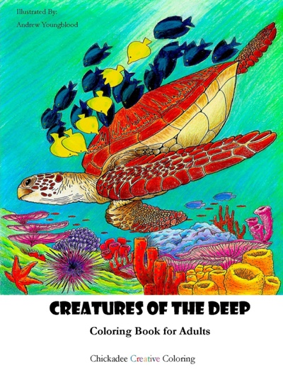 Creatures of the Deep Adult Coloring Book by Chickadee Creative Coloring