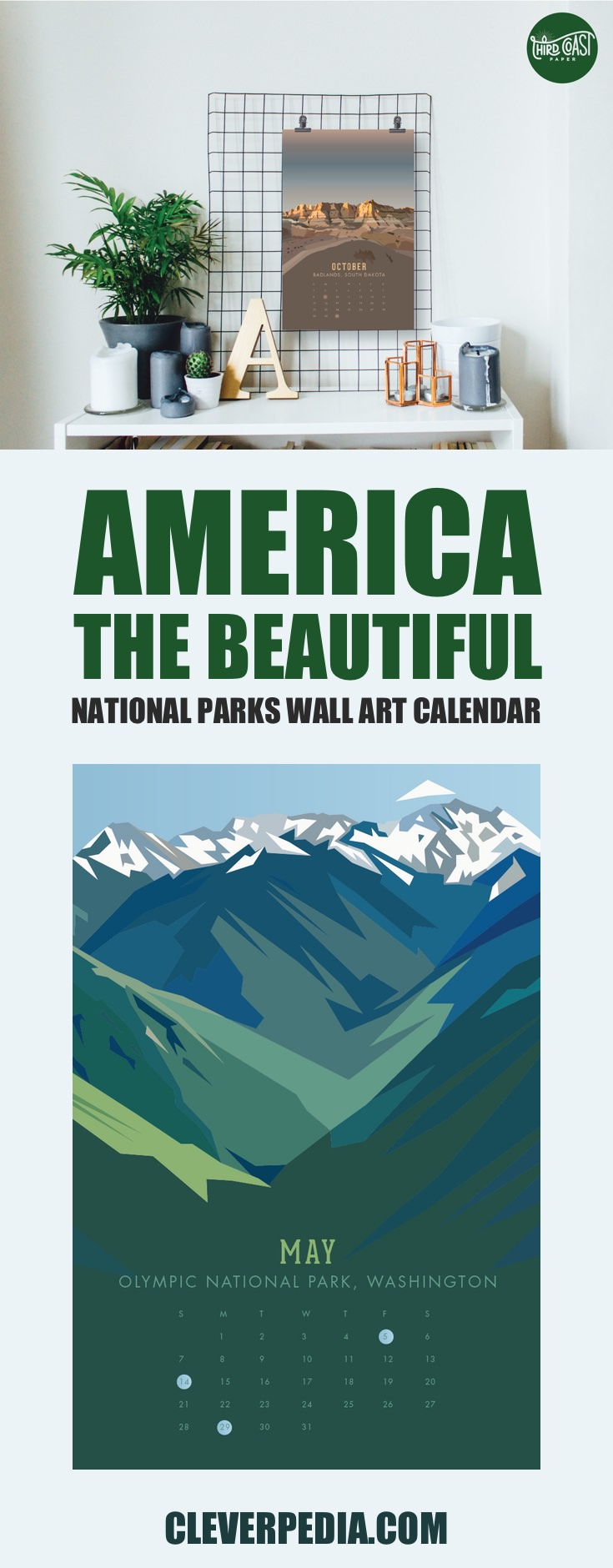 This gorgeous illustrated wall art poster calendar by Third Coast Paper features 12 different National Parks, rendered in a geometric style with a low number of colors on each page. The wall calendar includes the following National Parks: Acadia, Great Smoky Mountain, Congaree, Grand Canyon, Olympic, Death Valley, Arches, Hawaii Volcano, Glacier, Badlands, Sequoia, and Yellowstone.