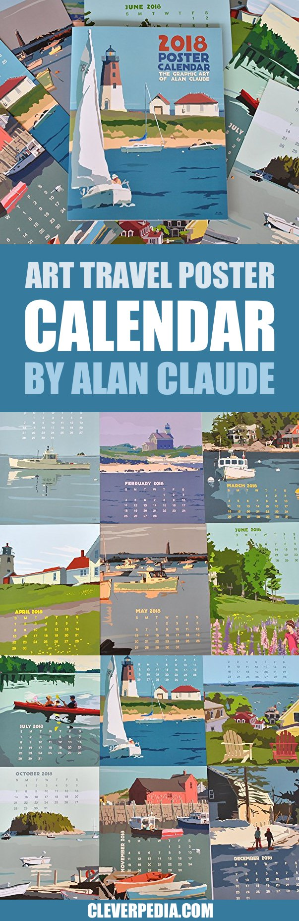 This unique wall calendar by artist Alan Claude is inspired by travel poster style graphics of the 20s and 30s, as well as a little bit of Edward Hopper. These poster prints feature scenes from Maine and the New England coast. The paper is thick and printed with wind power.