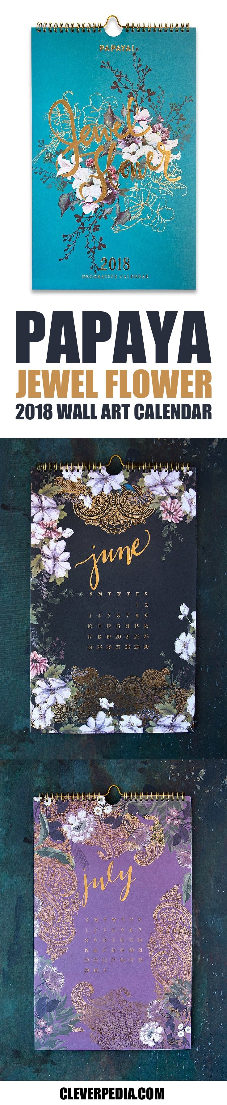 This lovely calendar by Papaya features flowers mixed with gold foil patterns. I love the way the gold foil pops on the jewel tone paper. This wall art calendar truly lives up to its name!